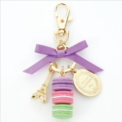 LADUREE Keychain Ring Eiffel Tower Macaron Charm S -PURPLE