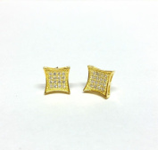 SQUARE KITE SHAPE 925 SILVER 14K YELLOW GOLD PLATED WITH WHITE C.Z STONES STUD EARRINGS MEN LADIES KIDS 9MM