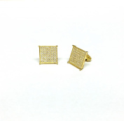 KITE SHAPE 925 SILVER 14K YELLOW GOLD PLATED WITH WHITE C.Z STONES STUD EARRINGS MEN 10MM