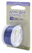 Artistic Wire, Silver Plated Craft Wire 18 Gauge Thick, 4 Yard Spool, Blue Colour