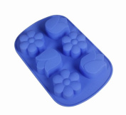 DGI MART 6-cavities Adorable Tulip Flowers Shape Ice Cube Mould DIY Clay Mould Tray Decorating Silicone Mini Cube Craft Fondant Mould Tray