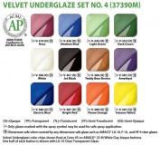 Amaco Velvet Underglaze Set 4 - Set of 12 Colours - 60ml Jars
