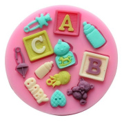 DGI MART DIY Silicone Mould Baby Letter Silicone Fondant Sugar Pudding Craft Mould Tray
