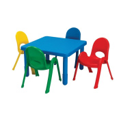 Angeles Value Kids Preschool Daycare Classroom Square Stack Table 70cm x 70cm x 20-Candy Apple Red