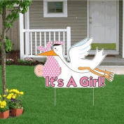 It's a Girl Announcement Kit - (lt)Stork Yard Sign, Baby on Board and Baby Sleeping Signs