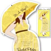 12 Baby Shower invitations Mod Mom Mix & Match custom Handmade Paisley Pattern in Yellow