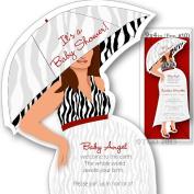 12 Baby Shower invitations Mod Mom Mix & Match custom Handmade Zebra Pattern in Red