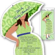 12 Baby Shower invitations Mod Mom Mix & Match custom Handmade Lepoard Pattern in Light Green