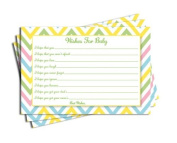 Baby Shower Chevron Wishes for Baby Cards Neutral Girl Boy Games