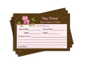 Baby Shower Advice & Prediction Cards for Mom Pink Owl Brown Damask