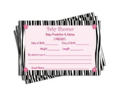 Baby Shower Advice & Prediction Cards for Mom Zebra Jungle Animal Pattern