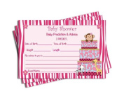 Baby Shower Advice & Prediction Cards for Mom Pink Zebra Jungle Cake Themed Games