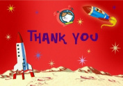 Dolce Mia Kids' Space Birthday Thank You Card Party Pack - 8 cards