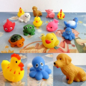 Towall 13PC High Quality Rubber Animals With Sound Baby Shower Party Favours Toy