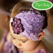 Nicerocker Lovely Unusal Cotton Girls Baby Light Purple Feather Hairband Flower Hairband