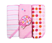 Spasilk Soft Terry Hooded Towel Set, Pink Snail, 3-Count