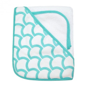 American Baby Company 100% Organic Cotton Terry Hooded Towel Set, White with Aqua Sea Waves