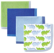 Luvable Friends Washcloths, Blue Alligator, 4 Count