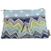 Logan + Lenora Wet/Dry Nappy Clutch 'ZOOM' Blue Chevron Wet Bag Small