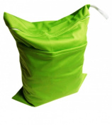 Solid Colour Baby Cloth Nappy Waterproof Zippered Wet/Dry Bags, Green