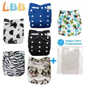 Baby Double Rows of Snaps 6pcs Pack Fitted Pocket Washable Adjustable Cloth Nappy(Netural Colour)6BM98
