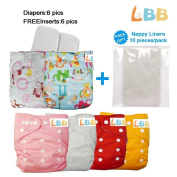 Baby Reusable Cloth Pocket Nappies, 6 pcs + 6 Inserts