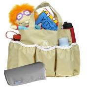kilofly Nappy Bag Insert Organiser, Multiple Pockets, Khaki, + Nappy Changing Pad