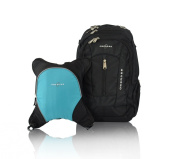 Obersee Bern Nappy Bag Backpack with Detachable Cooler, Black/ Turquoise