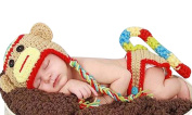 Newborn Baby Girl Boy Crochet Sock Monkey Hat Cape Beanie Nappy Cover Outfit Set Costume Photo Prop