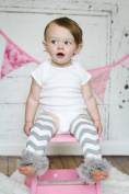 AllHeartDesires 1 Pair Grey & White Chevron Zig Zeg Toddler Kids Leg Warmer Baby Girl Boy Leggings Nursery Decor Gifts