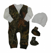 Mossy Oak Baby Outfit - Infant Baby Camo Jumper Shirt Hat Booties 4PC Gift Set