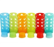Aquasana AQ-SL-500-MULTI Rainbow Silicone Sleeves and Caps for 530ml Glass Bottles, 6-Pack