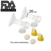 One-Piece Breastshield w/ Valve, Membrane for Medela Breast Pumps (Pump in Style, Lactina, Symphony), Choices of 21, 24, 25, 27 and 30 mm Breastshields; Repalcement of Medela PersonalFit Breastshield (Extra Large, Large, Medium, Small) & Personal Fit C ..