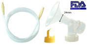 Nenesupply Swing Tubing and Pump Kit (Breastshield Standard 24mm) for Medela Swing Breastpump. Includes 1 Swing Tubing, 1 Breastshield (Replace Medela Personalfit Connector and 24mm Shield), 1 Valve, 1 Membrane, and 1 Swing tubing. Replace Medela Swing ..