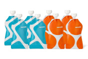 Squooshi Reusable Food Pouch | 8 Pack - G.O. Pattern | Refillable Squeeze Pouches for Kids of All Ages