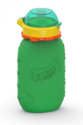 Squeasy Snacker 180ml 100% Food Grade Silicone Reusable Food Pouch, featuring the No Spill Insert - Green