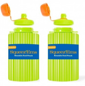 Squeez'Ems 180ml Reusable Food Pouches ~ New & Improved Screw-Top Design!