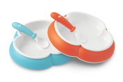 BABYBJORN Plate and Spoon, Turquoise/Orange, 2-Count