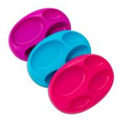 Boon Platter Edgeless Nonskid Divided Plate, Purple/Blue/pink