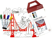 Modern-twist Kids Mark-Mat Colouring Silicone Placemat with 4 Markers, Fun on the Golden Gate