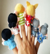 Amonfineshop(TM) 6Pcs New Soft Family Member Puppet Baby Finger Plush Toys