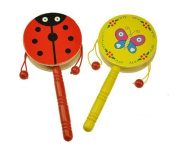 Musuntas 2PCS Musical Bell Stick Hand Bell Drum Wooden Rattle Drum Handshake Shaking Musical Instrument Baby Toy RANDOM colour