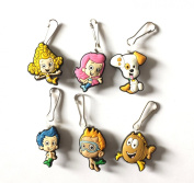 6 pcs Bubble Guppie # 1 Zipper Pull / Zip pull Charms for Jacket Backpack Bag Pendant