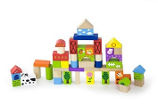 Viga Wooden Building Blocks 50 Piece Set with Farm Theme #50285