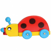 Obique Children's Wooden Toy Ladybird Pull Along Toy