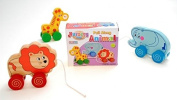 SET OF THREE Pull Along Animal Nursery Toys GIRAFFE ELEPHANT and LION