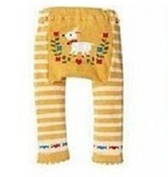BABY TODDLER INFANT LEGGINGS TIGHTS PANTS UNISEX WITH ADORABLE ANIMAL DESIGN LEMON LAMB LARGE