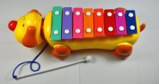 Cutequeen Trading Colourful Dog Pull Toys Knock Piano Music / Toddler Toy Dog ..Piano Music Box-type Trailers