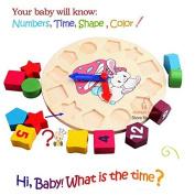 IMAGE®Wooden toy Digital Geometry Clock Children's educational toy building blocks