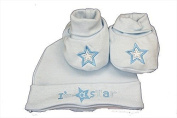New Blue 'I'm a Star' Hat & Booties set for newborn baby boy